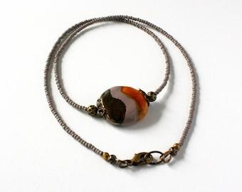 Brown Bead Necklace, Grey Bead Necklace, Kazuri Bead Necklace, Seed Bead Necklace, Fair Trade Jewelry, Ceramic Bead Jewelry