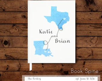 State to State Guest Book - Watercolor State Guest Book - Photo Reception Book - Wedding Memento - Keepsake - Wedding Memory Book - Journal