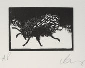 Bee Wood engraving. Hand pulled print. Fine art.