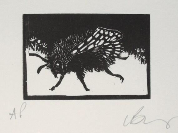 Bee Wood engraving. Hand pulled print. Fine art.