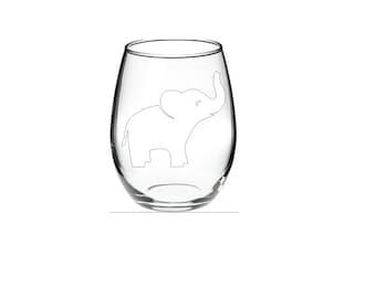 WHITE Elephant - WHITE ELEPHANT gift - Elephant Wine Glass - Monogram Wine Glass - Custom personalized monogram elephant stemless wine glass
