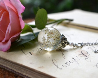 Real Queen Anne's Lace Resin Orb Pendant