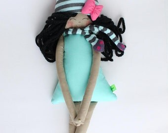 New '''' , Veronique , soft doll, handmade  rag doll, wearing  beret ,scarf and socks ,  ready to ship,stuffed doll