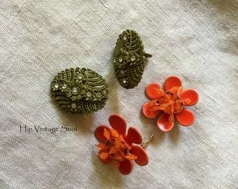 Vintage 1960's Funky Clip Earrings, Vintage Clip Earrings, Avocado Clip Earrings, Orange Clip Earrings, Mod Jewelry