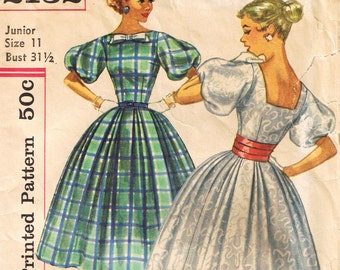 Rockabilly Dress Pattern, Vintage Sewing Pattern, Simplicity 2132