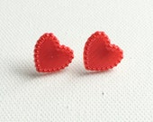 Red Heart Stud Earrings, Valentine's Day Gift, Retro, Gifts for Her, Gifts Under 10