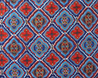 GREAT COLORS and PATTERN vintage red blue moroccan style fabric