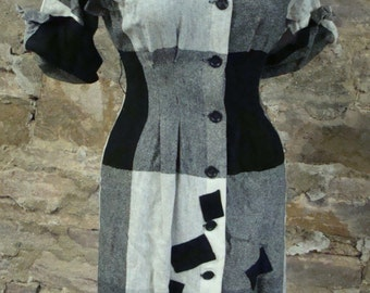 BLACK and GRAY WOOL vintage dress 1940's 1950's S xs