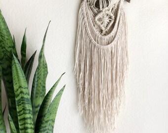 Boho Macrame Wall Hanging /Bohemian Tapestry, Rustic Earthy Hippie / Tree Branch Hanging, OOAK