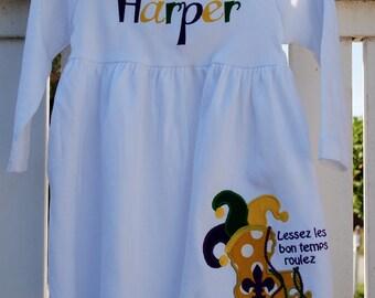 Mardi Gras , Louisiana,Fleur DE Lis Applique Monag knit Dress New Orleans Mardi Gras