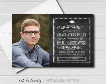 Graduation Party Invitation, Chalkboard Graduation Invitation, printable - DIY,  Photo