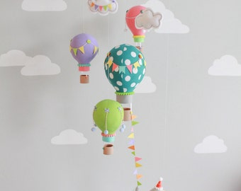 Hot Air Balloon, Baby Mobile, Nursery Decor,  Elephant Mobile, Travel Theme, i149