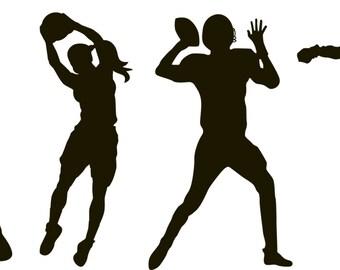 sports decals - soccer player, football, basketball, baseball player, vinyl wall decals - children's decals