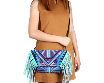 Tassel Fringe Bag Embroidered Fabric Cross Body with Removable Leather Strap (BG4395-118C6)