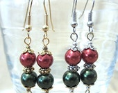 Red & Green Pearl Christmas Dangle Earrings, Handmade Original Holiday Fashion Jewelry, Festive Classic Simple Gold or Silver Ladies Gift