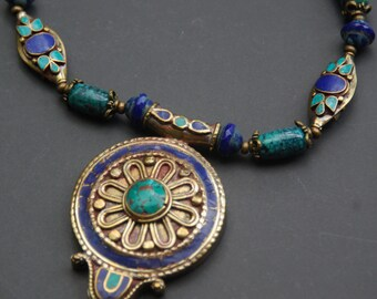 Large Tibetan Turquoise and Lapis Pendant Necklace with Turquoise, Lapis, Czech Glass - Longer Length