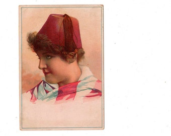 Lion Coffee Vintage Victorian Woman in Fez Collectible Advertising Card - Toledo, Ohio