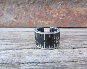 Antique Stanley Folding Ruler RING Size 5 Aluminum Metal Upcycled Distressed Industrial Jewelry Industrial Black Silver Steampunk Vintage