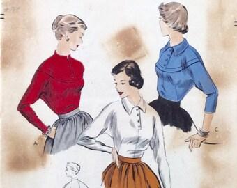 """Vintage 1950 Vogue Misses' Blouse Pattern 6876 Size 12 (30"""" Bust)"""