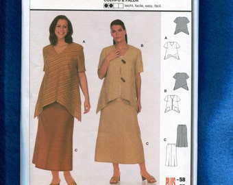 Burda 8629 Modern Chic Tops with High Low Hemlines & Skirt Size 18 to 32 UNCUT