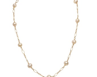 Tin Cup Pearl Necklace |Cultured Freshwater 7.5mm Natural White Semi-Round | 14k Gold Fill or Sterling Silver 18""