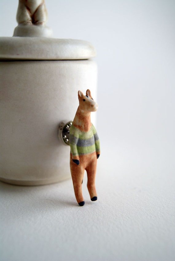 hand-painted porcelain horse pin - horse in striped sweater