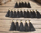 """Silky Tassels 3"""" inches Set Of 20 Black Color Tassels Gold Tie Thread"""
