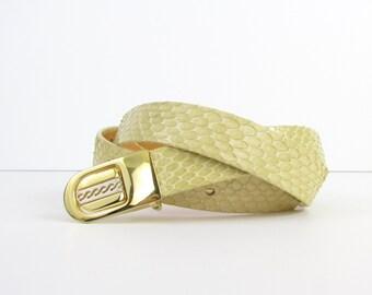 Sale Pastel Yellow Leather Belt - Vintage 1980s Snakeskin Belt