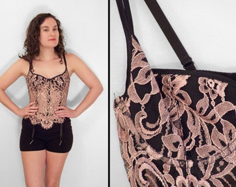 Pink Lace Corset 1990s Shirley of Hollywood Pink + Black Size 34 B/C Bra Top