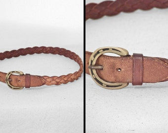 Braided HORSESHOE Belt // 1970s Brass Buckle // Brown Leather 25 - 28