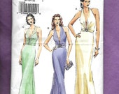 Vogue 8191 Misses' Formal Evening Gowns With A Deep Deep Plunging Neckline Halter Bodice, Bias Cut Flared Skirt, Sizes 8, 10, 12
