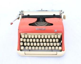 Vintage Typewriter, Mid Century Typewriter, Manual Typewriter, Torpedo 30, Working Typewriter, Office Decor, 1950s portable typewriter