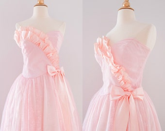1990s Strapless Lace Ruffle Prom Dress // Vintage 90s Pink Bow Dress