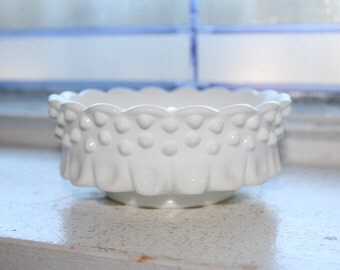 Vintage Fenton Milk Glass Hobnail Thumbprint Candy Dish