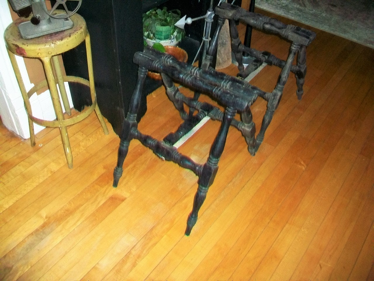 Victorian Coffin Stands Pair Antique 19th Century Funeral