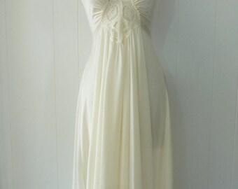 OLGA Lace Bodice Nightgown Full Length Sweep Bridal White Nightie M 92280