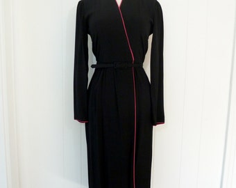 70's True Wrap Dress Disco Black Rayon Hot Pink Belted Long Sleeve 40's Style S