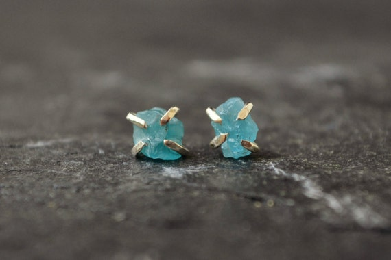 Raw Apatite Crystal Stud Earrings Rough Stone Sterling Silver Post Crystal Earrings Turquoise Aqua Blue Summer Earrings
