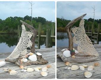Driftwood Doily Sailboat,Lakeside Decorations, Beach Boat, Nautical Mantel Decor, Coastal Home, By the Sea theme