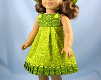 18 Inch Doll Clothes  - American Girl - Sundress and Hat in Tropical  Light and Dark Nile Green Prints