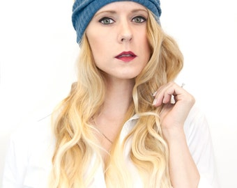 Womens Headbands, Ear Warmer, Wide Yoga Workout Headwrap, Blue Sweater Ribbed Adult Head Band Fabric Fall Winter, Exercise No Slip Running