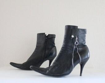 Vintage Black Leather European High Fashion Ankle Boots Sz 7.5