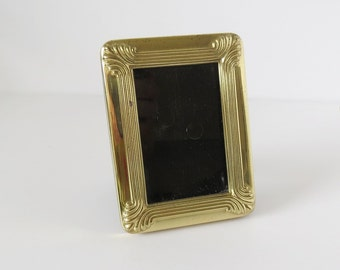 Small Vintage Art Deco Style Free Standing Picture Photo Frame in Gold Tone Metal
