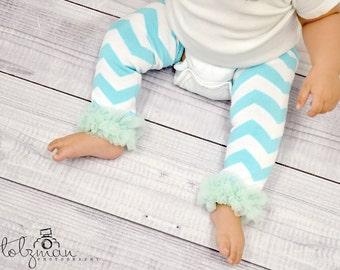 Aqua Chiffon Ruffle Ballerina Turquoise White Stripes Baby Leg Warmers, BABY GIRL, 1st Birthday, Toddler, Girls Dance, Photo Prop