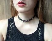 Metallic peacock beaded choker | Multi strand choker | Tattoo choker | Beaded necklace |