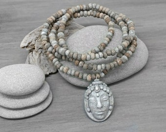 Buddha Necklace - Meditation Jewelry - Sculpted Polymer Clay Earthy Bohemian Zen Spiritual Necklace - Yoga Jewelry