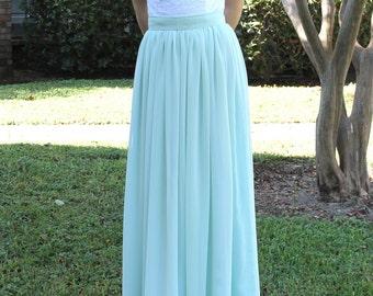 Chiffon maxi skirt, bridesmaid   skirt, non puffy bridesmaid maxi skirt