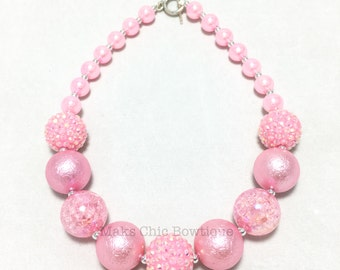 Toddler or Girls Pretty in Pink Chunky Necklace - Princess Chunky Necklace - Pink Chunky Necklace - Flower Girl Chunky necklace - Holiday