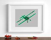 Vintage airplane art - Spad VIII biplane - pick your colors - Transportation art boys room wall art - Airplane nursery art
