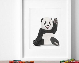 Panda Bear art print, panda nursery artwork, baby jungle animal print, safari childrens ilustration - minimalist nursery art